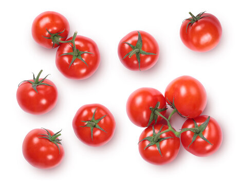 Fresh red ripe tomatoes isolated on white background.