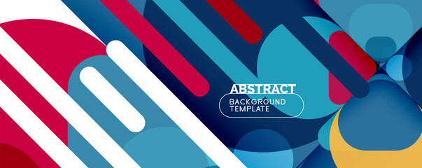Fototapeta Flat geometric round shapes and dynamic lines, abstract background. Vector illustration for placards, brochures, posters and banners