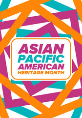 Fototapeta Asian Pacific American Heritage Month. Celebrated in May. It celebrates the culture, traditions and history of Asian Americans and Pacific Islanders in the United States. Poster, card, banner. Vector