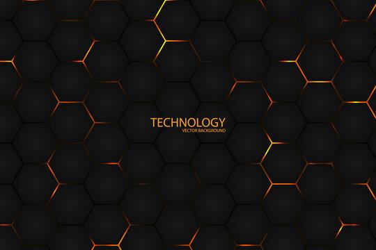 Hexagonal Dark l abstract background. Bright yellow light energy flashing under the hexagon in modern futuristic technology background illustration. Black grid honeycomb texture.