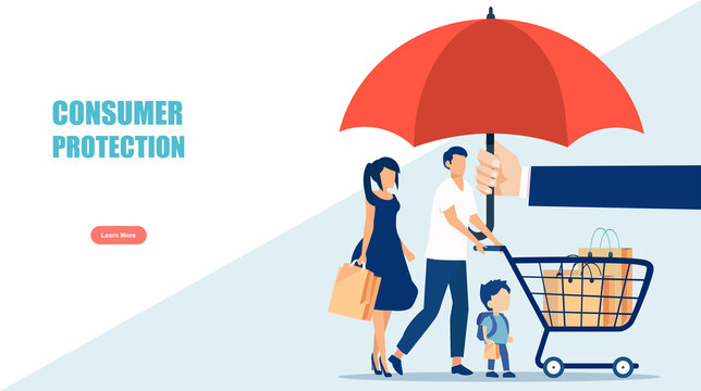 Vector of a family with shopping cart under umbrella. Consumer protection concept