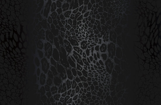 Luxury black metal gradient background with distressed natural leopard fur texture.