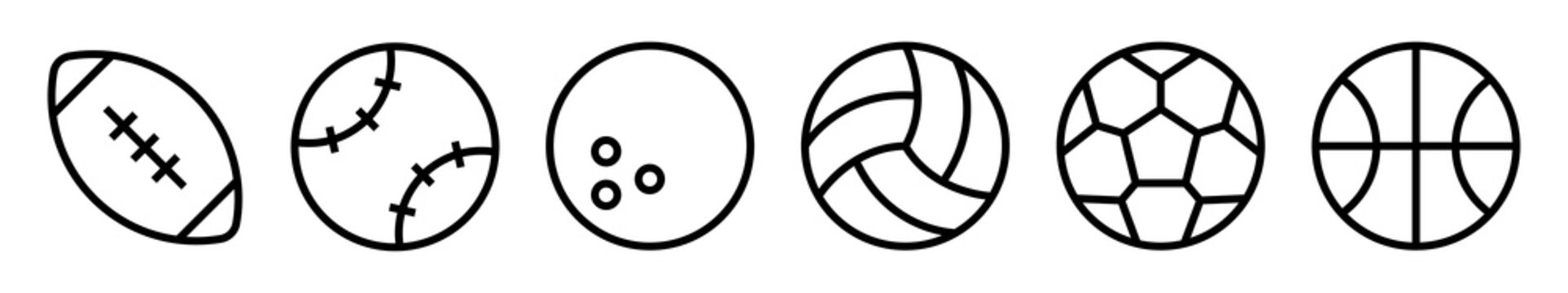 Sport balls vector icons set. Ball simple icon. Balls silhouettes for football, baseball, basketball, tennis, volleyball isolated on white background. Vector illustration.