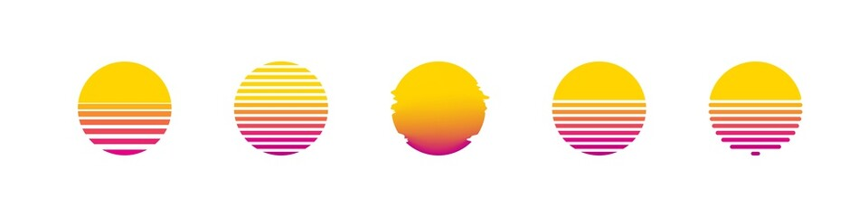 Fototapeta Sun retro set sunset or sunrise element 1980s style. Retrowave sun flat design banner isolated illustration obraz