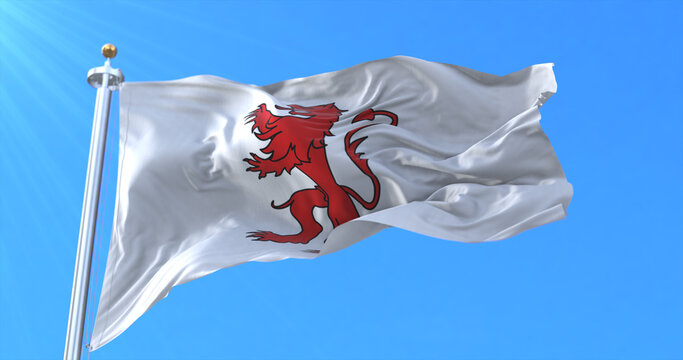 Flag of department of Gers in the region of Occitanie, France. 3d rendering