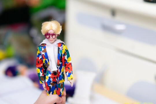 Bangkok ,Thailand,Feb 2,2021-barbie doll boy in DIY fashion suit