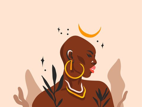 Hand drawn vector abstract flat graphic illustration with ethnic tribal black beautiful bohemian african american woman portrat,flower and magic crescent in simple style,isolated on pastel background