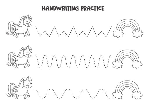 Tracing letters with cute rainbows and unicorns. Writing practice for kids.