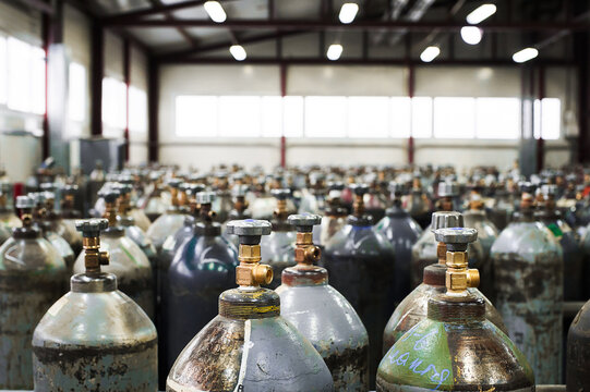Cilinder with mixed gases. Tanks with compressed gas for industry. Liquefied oxygen production. Factory