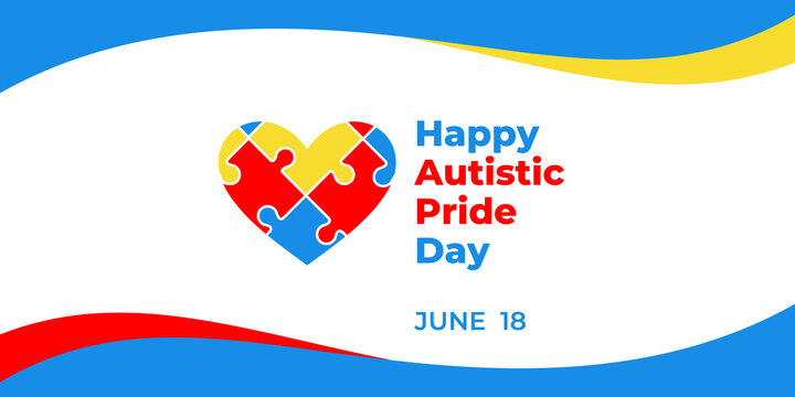 Autistic pride day. Vector web banner for social media, poster, card, flyer. Text Happy autistic pride day, June 18. Illustration with heart and Puzzles on white background