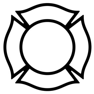 Blank Firefighter Maltese Cross Outline Isolated Vector Illustration