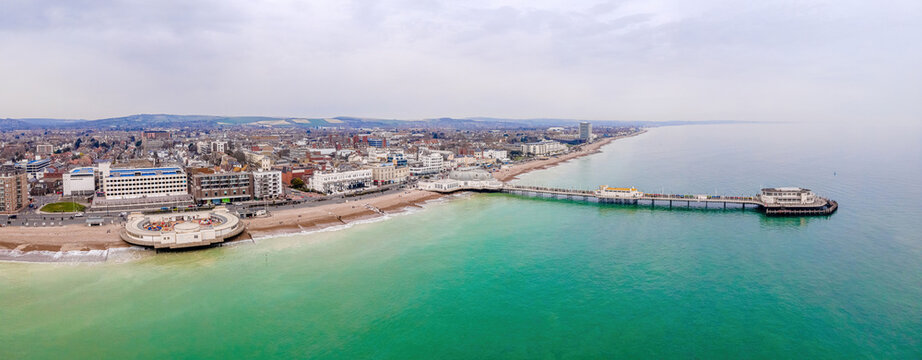 An aerial view of Worthing Pier, a public pleasure pier in Worthing, West Sussex, England