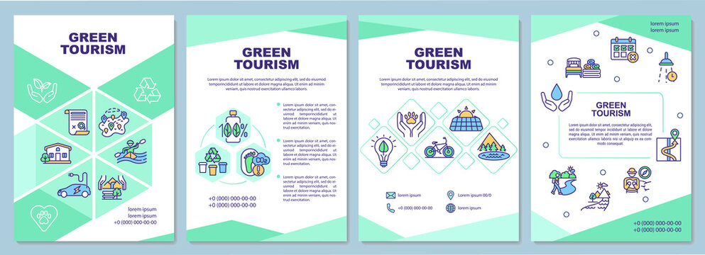 Green tourism brochure template. Discovering natural environment. Flyer, booklet, leaflet print, cover design with linear icons. Vector layouts for presentation, annual reports, advertisement pages