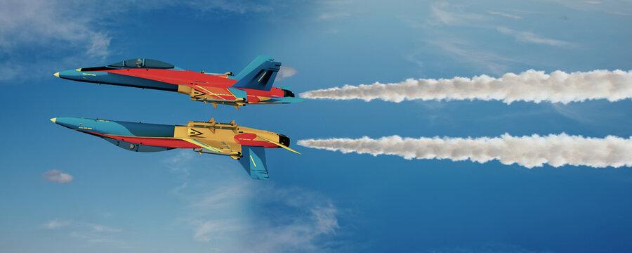 3d Kunstflugzeuge, Düsenjet in Formation mit Rauchfahnen am Himmel