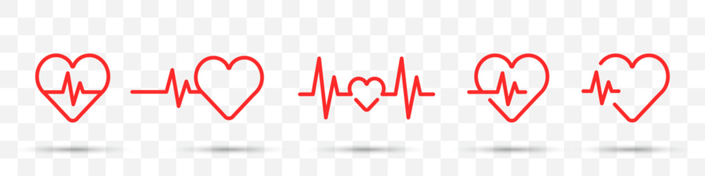 Set of red heartbeat icons on a transparent background