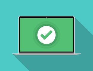 Fototapeta Laptop with green checkmark notification in a flat design
