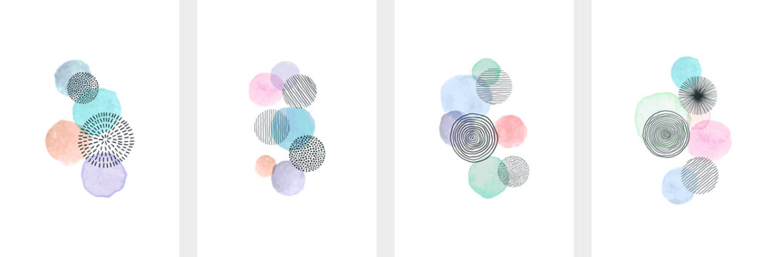 Creative minimalist hand painted Abstract art background with watercolor stain and Hand Drawn doodle Scribble Circle. Design for wall decoration, postcard, poster or brochure