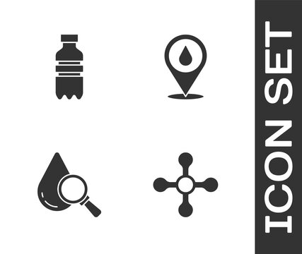 Set Water tap, Bottle of water, Drop and magnifying glass and drop with location icon. Vector