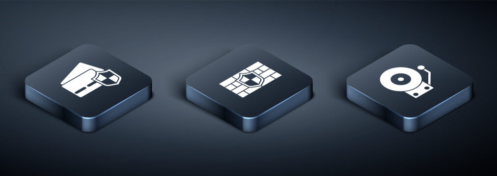 Set Isometric Credit card with shield, Ringing alarm bell and Shield brick wall icon. Vector