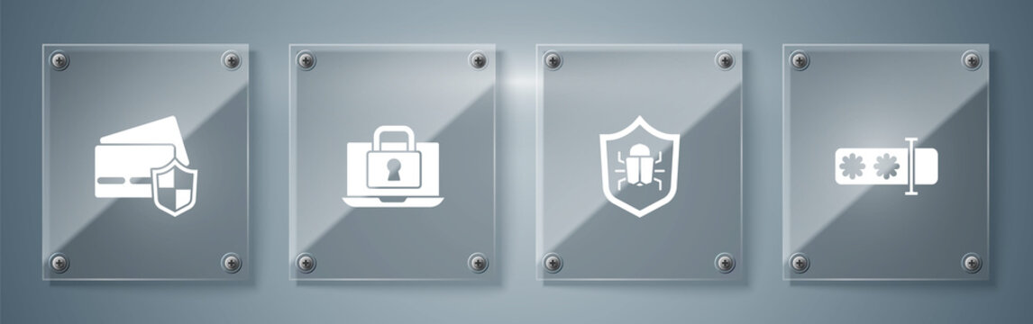 Set Password protection, System bug, Laptop and lock and Credit card with shield. Square glass panels. Vector