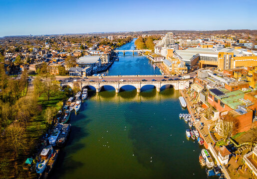 The aerial view of Kingston bridge and suburbs of London in spring