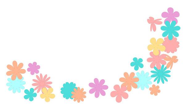 カラフルな小花を使ったイラスト|Illustration using colorful florets