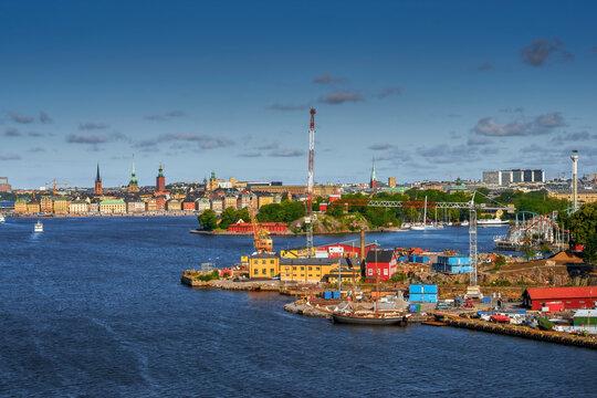 View Gamla Stan And On Gröna Lund Amusement Park, Stockholm, Sweden