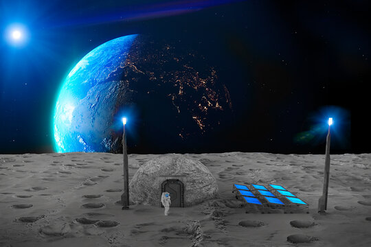 Lunar base, spatial outpost. First settlement on the moon. Space missions. Living modules for the conquest of space in the lunar subsoil. 3d render. Moon soil. Lunar ark. Lava tube, regolith