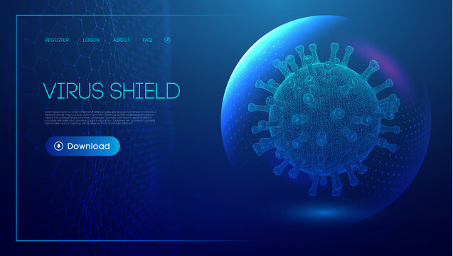 Coronavirus vaccine vector background. Stop coronavirus concept blue virus shield. Healthcare concept of sphere shield for corona virus infection. EPS 10.