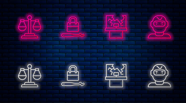 Set line Lock picks for lock picking, Broken window, Scales of justice and Thief mask. Glowing neon icon on brick wall. Vector