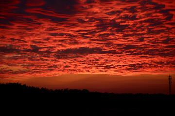 Obraz Czerwony zachód słońca w Polsce jesienią - fototapety do salonu