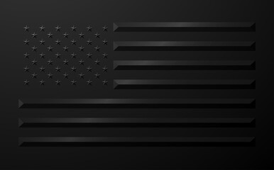Fototapeta USA flag in black geometric style