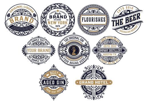 Set of 9 Vintage Logos and Badges