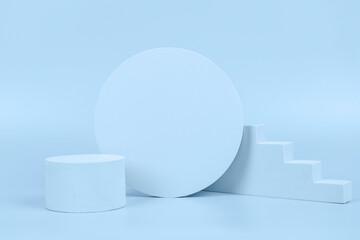 Abstract empty pastel beige geometric shape podium platform on light blue background. Minimal...