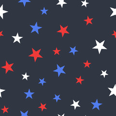 Fototapeta White, Red and Blue Stars with Dots Seamless Pattern