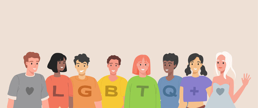 LGBTQ people vector flat illustration. Group of lesbian, gay, bisexual, transgender, and queer happy smiling men and women in colorful rainbow t-shirts. LGBT pride, homosexual love concept.