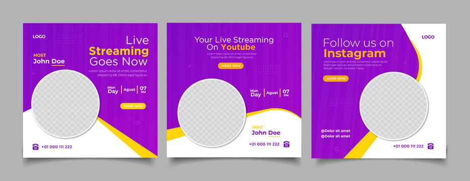 live streaming youtube and instagram social media post
