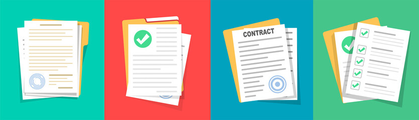 Contract or document signing icon. Document Symbol Set. Contract conditions, research approval. Document vector icons isolated design. Flat style icons set.Vecor