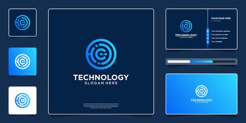 Fototapeta Abstract technology logo design with business card template
