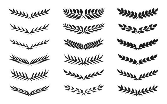 Black silhouette semicircular form vintage wreath icon set. Floral leaf ornament frame for your design depicting foliate borders. Laurel or olive branch. Great for poster. Isolated vector illustration