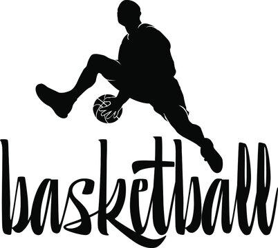 Silhouette of a basketball player, logo black