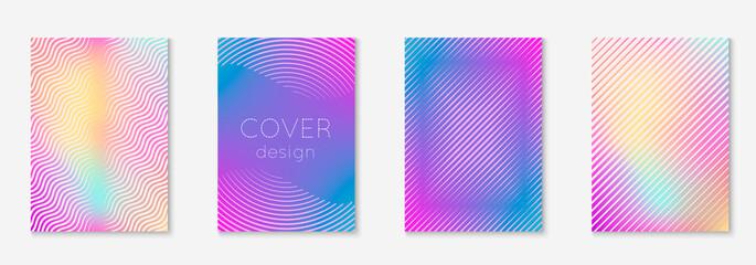 Fototapeta Set brochure as minimalist trendy cover. Line geometric element.