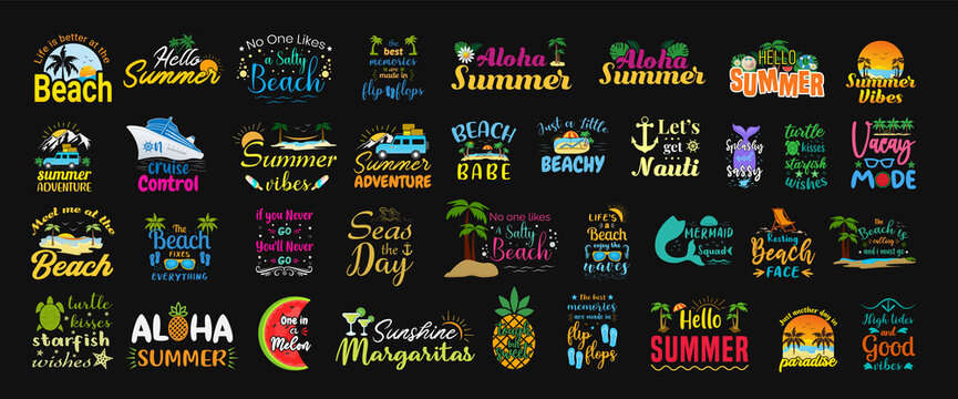 Set of summer funny and sassy labels, hand-drawn lettering, logos, badges and stickers with tropical and beach elements