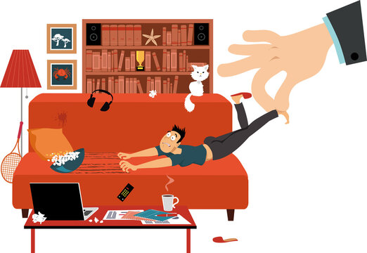Giant hand pulling a reluctant man off the couch where he was working from home, EPS 8 vector illustration