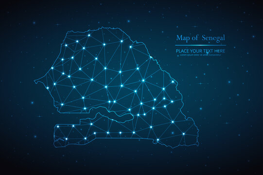 Abstract map of Senegal geometric mesh polygonal network line, structure and point scales on dark background. Vector illustration eps 10