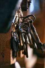 Vertical shot of a pile of rusty keys on a wooden wall with a blurry background
