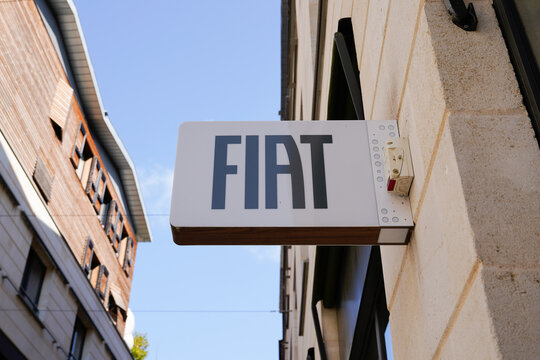 Fiat dealership brand text and sign logo on wall station car store Italian automobile manufacturer garage