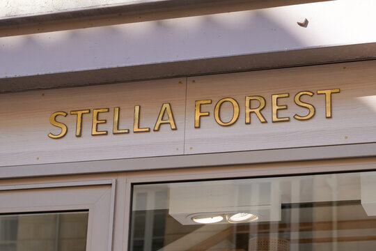 Stella Forest store sign text front of shop logo brand in store street