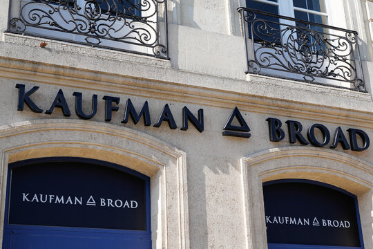 Kaufman & Broad office sign logo and brand text subsidiary of American homebuilding company KB Home homebuilder
