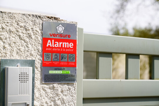 Verisure logo sign and text brand on home entrance portal alarm provider of professionally monitored security